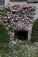 A rambling rose climbs over the facade of Haddon Hall