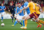 Motherwell v St Johnstone...30.08.14  SPFL<br /> Lee Croft is closed down by the Motherwell defence<br /> Picture by Graeme Hart.<br /> Copyright Perthshire Picture Agency<br /> Tel: 01738 623350  Mobile: 07990 594431