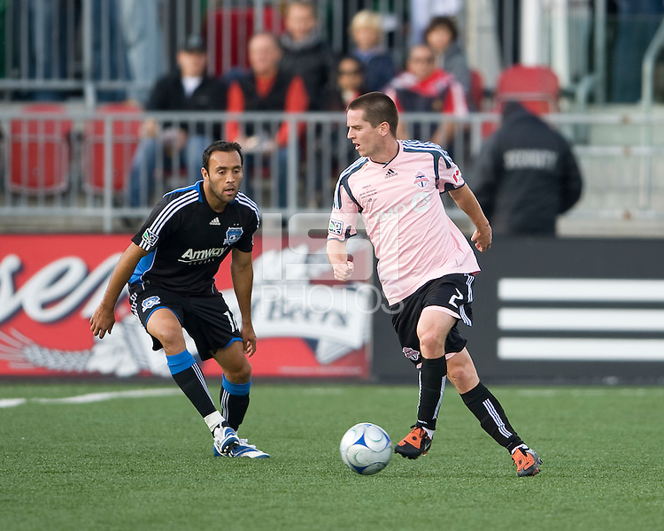 10 October 2009: San Jose Earthquakes midfielder Ramiro Corrales #12 and Toronto FC midfielder Sam Cronin #2 in action during MLS action between Toronto FC and San Jose Earthquakes at BMO Field in Toronto..The final score was 1-1..