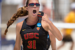GULF SHORES, AL - MAY 07: Jenna Belton (31) of the University of Southern California celebrates winning a point against Pepperdine University during the Division I Women's Beach Volleyball Championship held at Gulf Place on May 7, 2017 in Gulf Shores, Alabama. The University of Southern California defeated Pepperdine 3-2 to claim the national championship. (Photo by Stephen Nowland/NCAA Photos via Getty Images)