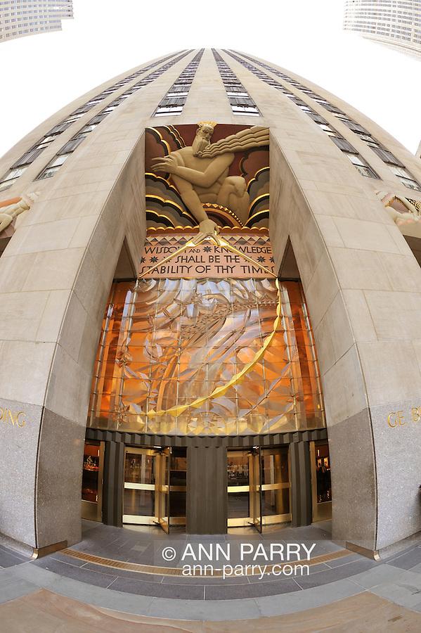 GE Building entrance at 30 Rockeller Center, Rockefeller Plaza, Manhattan, New York City, 2011, 180 degree fisheye lens view