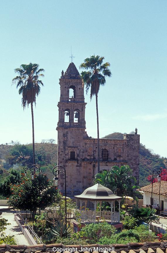 The main plaza and Church of San Jose in the Spanish colonial mining town of Copala near Mazatlan, Sinaloa, Mexico