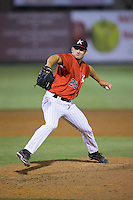 Kannapolis Intimidators relief pitcher Tanner Banks (29) in action against the Hickory Crawdads at CMC-Northeast Stadium on May 22, 2015 in Kannapolis, North Carolina.  The Intimidators defeated the Crawdads 4-3.  (Brian Westerholt/Four Seam Images)