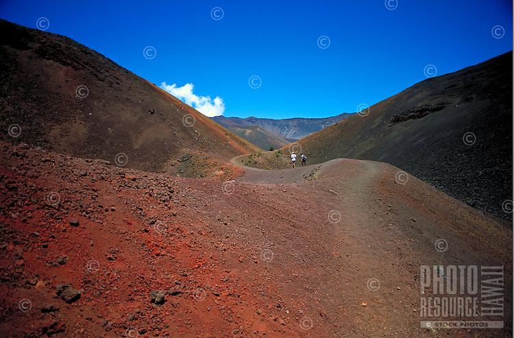 Hikers at Haleakala National park, Maui