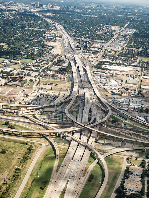 Interchange of I-35E and I-625 in the Dallas-Ft. Worth Metroplex, USA Fly-over County-from the window seat of Southwest #1882 from SMF to DAL, September 2016
