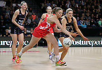 27.08.2016 Silver Ferns Jane Watosn and England's Ellie Cardwell in action during the Netball Quad Series match between teh Silver Ferns and England at Vector Arena in Auckland. Mandatory Photo Credit ©Michael Bradley.
