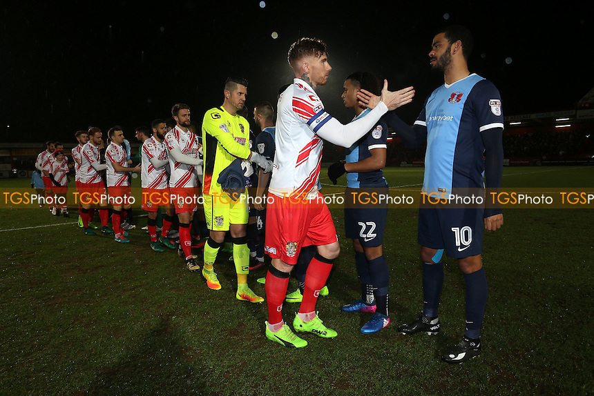 The players shake hands during Stevenage vs Leyton Orient, Sky Bet EFL League 2 Football at the Lamex Stadium on 28th February 2017