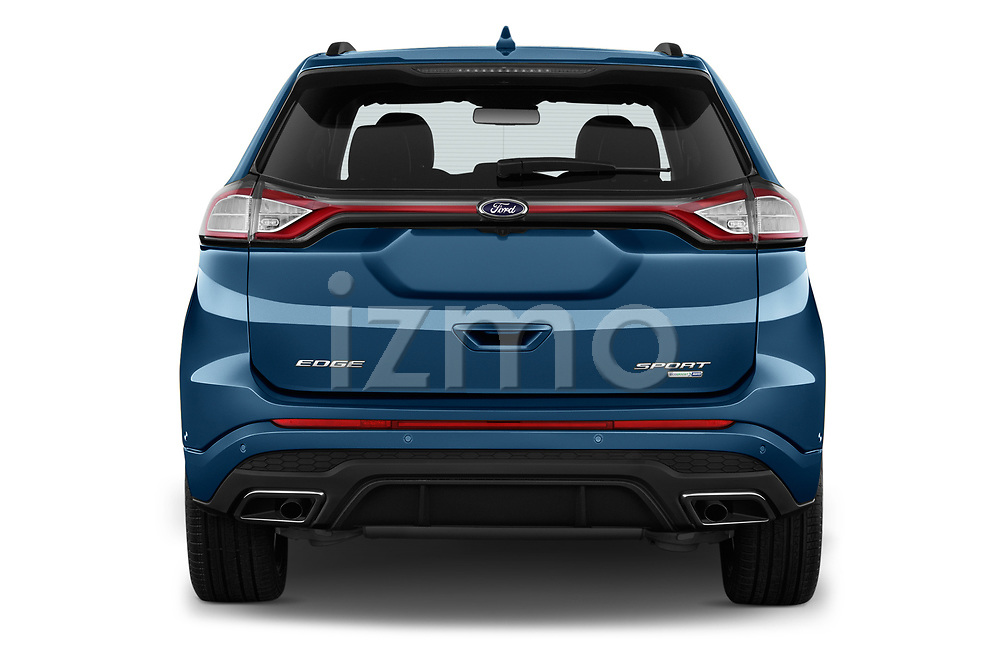 Straight rear view of 2017 Ford Edge Sport 5 Door SUV stock images