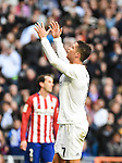 Real Madrid´s Cristiano Ronaldo  during 2015/16 La Liga match between Real Madrid and Atletico de Madrid at Santiago Bernabeu stadium in Madrid, Spain. February 27, 2016. (ALTERPHOTOS/Javier Comos)