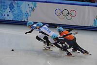 OLYMPICS: SOCHI: Iceberg Skating Palace, 15-02-2014, Short Track, Men's 1000m, Finals, Victor An (#250 | RUS), Vladimir Grigorev (#252 | RUS), Sjinkie Knegt (#248 | NED), Da Woon Sin (#243 | KOR), ©photo Martin de Jong
