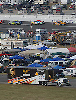 Apr 29, 2007; Talladega, AL, USA; The hauler of Nascar Nextel Cup Series driver Dale Jarrett (88) leaves the track after blowing his engine on lap 38 during the Aarons 499 at Talladega Superspeedway. Mandatory Credit: Mark J. Rebilaslas..