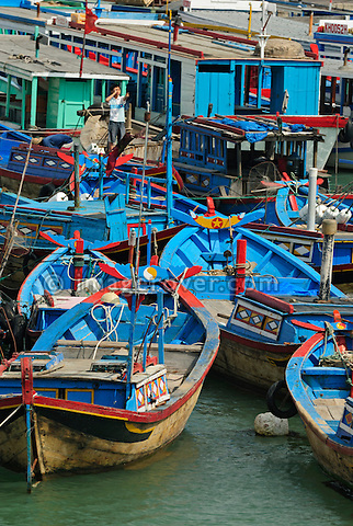 Asia, Vietnam, Nha Trang. Cau Da the harbour 3km south of downtown of Nha Trang. Cau Da is the main pier for ferries and pleasure boat trips to the islands.
