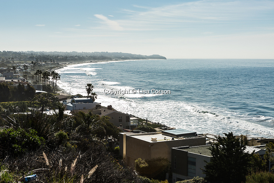 A view of the coastline, shot from the Pacific Coast Highway. Malibu, California.