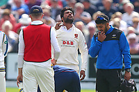 Injury concern for Mohammad Amir of Essex during Yorkshire CCC vs Essex CCC, Specsavers County Championship Division 1 Cricket at Scarborough CC, North Marine Road on 7th August 2017