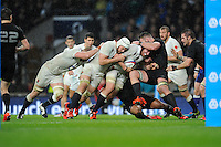 Ben Morgan of England leads the charge for the line as Dave Attwood of England lends a helping hand during the QBE International match between England and New Zealand at Twickenham Stadium on Saturday 8th November 2014 (Photo by Rob Munro)