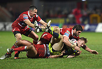 Picture by Anna Gowthorpe/SWpix.com - 02/02/2018 - Rugby League - Betfred Super League - Hull KR v Wakefield Trinity - KC Lightstream Stadium, Hull, England - Wakefield Trinity's Tom Johnstone is tackled by Hull KR's Danny Maguire, Lee Jewitt and Chris Clarkson