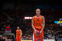 VALENCIA, SPAIN - OCTOBER 20: Luke Sikma during EUROCUP match between Valencia Basket Club and CAI Zaragozaat Fonteta Stadium on   October 22, 2015 in Valencia, Spain