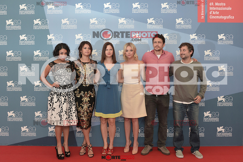 VENICE, ITALY - SEPTEMBER 05: Vanessa Hudgens, Selena Gomez, Rachel Korine, Ashley Benson, James Franco and Harmony Korine at the 'Spring Breakers' Photocall during the 69th Venice Film Festival at the Palazzo del Casino on September 5, 2012 in Venice, Italy. &copy;&nbsp;Maria Laura Antonelli/AGF/MediaPunch Inc. ***NO ITALY*** /NortePhoto.com<br />