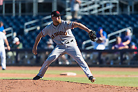 Scottsdale Scorpions relief pitcher Sam Wolff (56), of the San Francisco Giants organization, delivers a pitch during an Arizona Fall League game against the Peoria Javelinas at Peoria Sports Complex on October 18, 2018 in Peoria, Arizona. Scottsdale defeated Peoria 8-0. (Zachary Lucy/Four Seam Images)