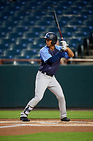 Trenton Thunder shortstop Gosuke Katoh (19) at bat during the second game of a doubleheader against the Bowie Baysox on June 13, 2018 at Prince George's Stadium in Bowie, Maryland.  Bowie defeated Trenton 10-1.  (Mike Janes/Four Seam Images)