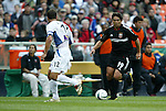 3 April 2004: Jaime Moreno (99) takes on Jeff Agoos (12)  in the first half. DC United defeated the San Jose Earthquakes 2-1 at RFK Stadium in Washington, DC on opening day of the regular season in a Major League Soccer game..