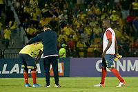 BUCARAMANGA - COLOMBIA, 09-02-2020: Edwuin Cetre, Kevin Balanta de Colombia lucen decepcionados después del partido entre Colombia U-23 y Uruguay U-23 por el cuadrangular final como parte del torneo CONMEBOL Preolímpico Colombia 2020 jugado en el estadio Alfonso Lopez en Bucaramanga, Colombia. / Edwuin Cetre and Kevin Balanta of Colombia look disappointed after the match between Colombia U-23 and Uruguay U-23 of for the final quadrangular as part of CONMEBOL Pre-Olympic Tournament Colombia 2020 played at Alfonso Lopez stadium in Bucaramanga, Colombia. Photo: VizzorImage / Jaime Moreno / Cont