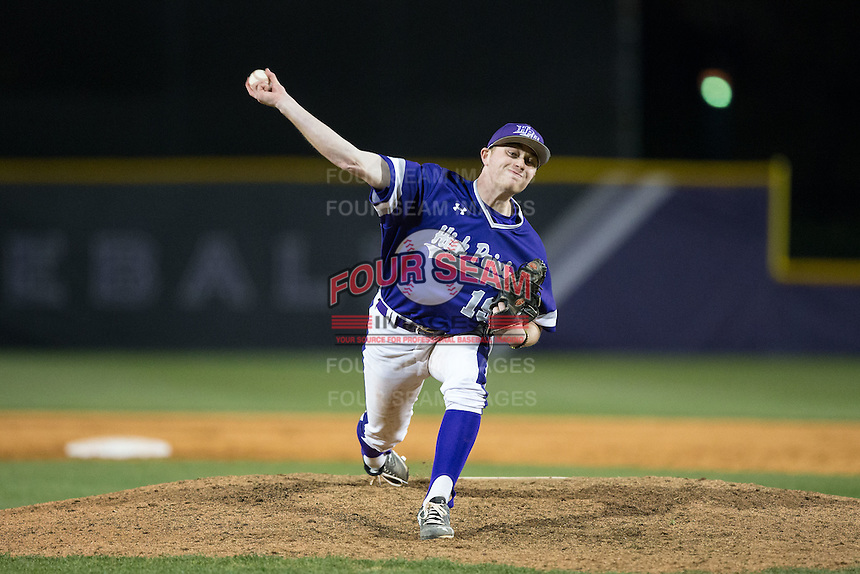 High Point Panthers relief pitcher Nick Niarchos (19) in action against the NJIT Highlanders during game two of a double-header at Williard Stadium on February 18, 2017 in High Point, North Carolina.  The Highlanders defeated the Panthers 4-2.  (Brian Westerholt/Four Seam Images)