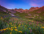 San Juan Mountains, CO<br /> American Basin at dawn with wildflower meadows beneath Handies Peak