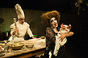London, UK. 14.04.2015. Alice&rsquo;s Adventures Underground &ndash; UK premiere of a new grand scale immersive theatre production by acclaimed theatre company Les Enfants Terribles and Emma Br&uuml;njes Productions. Picture shows: Lauryn Redding (Duchess),<br /> Dan Wheeler (The cook). Photograph &copy; Jane Hobson.