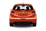Straight rear view of 2015 Peugeot 208 Allure 5 Door Hatchback Rear View  stock images