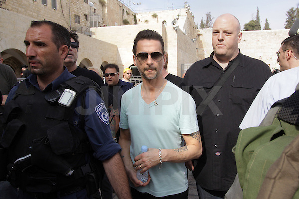 Dave Gahan, baritone lead singer for the popular Depeche Mode band, is seen while touring Jerusalem's old city with his fellow band members and his wife, Jennifer Sklias-Gahan, Jerusalem, Friday, May 8th, 2009. Israeli fans have been excitedly anticipating the arrival of the popular British electronic music band, who only two years ago cancelled a scheduled performance in Israel due to the outbreak of the second Lebanon war. The band members arrived in Israel on Thursday evening, and will stay until after their concert, which will take place Sunday evening the 10th, at the Ramat Gan Stadium. Photo By: Emil Salman / JINI.