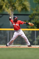 Boston Red Sox Wendell Rijo (11) during a minor league spring training game against the Baltimore Orioles on March 20, 2015 at Buck O'Neil Complex in Sarasota, Florida.  (Mike Janes/Four Seam Images)