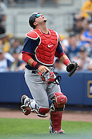 Boston Red Sox catcher A.J. Pierzynski (40) during a spring training game against the Tampa Bay Rays on March 25, 2014 at Charlotte Sports Park in Port Charlotte, Florida.  Boston defeated Tampa Bay 4-2.  (Mike Janes/Four Seam Images)