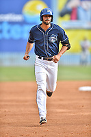 Asheville Tourists first baseman Jacob Bosiokovic (21) rounds the bases after hitting a home run during a game against the Rome Braves at McCormick Field on June 24, 2017 in Asheville, North Carolina. The Tourists defeated the Braves 6-5. (Tony Farlow/Four Seam Images)