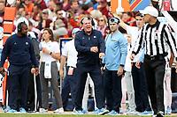 BLACKSBURG, VA - OCTOBER 19: Head coach Mack Brown of the University of North Carolina complains about a call during a game between North Carolina and Virginia Tech at Lane Stadium on October 19, 2019 in Blacksburg, Virginia.