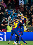 Lionel Andres Messi of FC Barcelona celebrates with teammates Jose Paulo Bezerra Maciel Junior, Paulinho, and Sergio Busquets Burgos during the UEFA Champions League 2017-18 match between FC Barcelona and Olympiacos FC at Camp Nou on 18 October 2017 in Barcelona, Spain. Photo by Vicens Gimenez / Power Sport Images