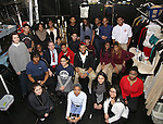 James Basker, President of the Gilder Lehrman Institute, with Student performers backstage at The Rockefeller Foundation and The Gilder Lehrman Institute of American History sponsored High School student #EduHam matinee performance of 'Hamilton' at the Richard Rodgers Theatre on 2/15/2017 in New York City.