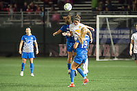 Allston, MA - Saturday Sept. 24, 2016: Angela Salem, Abby Erceg during a regular season National Women's Soccer League (NWSL) match between the Boston Breakers and the Western New York Flash at Jordan Field.