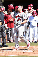 South Carolina Gamecocks third baseman Jonah Bride (20) celebrates after hitting a home run during a game against the Tennessee Volunteers at Lindsey Nelson Stadium on March 18, 2017 in Knoxville, Tennessee. The Gamecocks defeated Volunteers 6-5. (Tony Farlow/Four Seam Images)