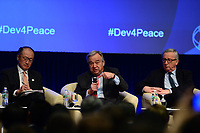 "Washington, DC - April 21, 2017:  United Nations Secretary General Antonio Guterres, World Bank President Jim Yong Kim and European Commission President Jean-Claude Juncker participate in the""Financing for Peace"" panel discussion during the annual Spring Meetings of the IMF/World Bank Group at the IMF headquarters in the District of Columbia April 21, 2017.  (Photo by Don Baxter/Media Images International)"