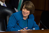 Senator Amy Klobuchar, Democrat of Minnesota, gives her opening statement during the confirmation hearing of Judge Brett Kavanaugh before the United States Senate Judiciary Committee on his nomination as Associate Justice of the US Supreme Court to replace the retiring Justice Anthony Kennedy on Capitol Hill in Washington, DC on Tuesday, September 4, 2018.Credit: Alex Edelman / CNP