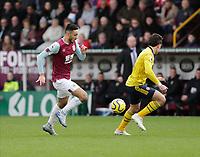 2nd February 2020; Turf Moor, Burnley, Lancashire, England; English Premier League Football, Burnley versus Arsenal; Dwight McNeil of Burnley Jay Rodriguez of Burnley in full flight