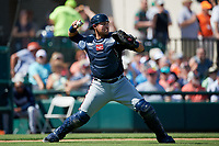 Atlanta Braves catcher Alex Jackson (70) throws to second base during a Grapefruit League Spring Training game against the Detroit Tigers on March 2, 2019 at Publix Field at Joker Marchant Stadium in Lakeland, Florida.  Tigers defeated the Braves 7-4.  (Mike Janes/Four Seam Images)