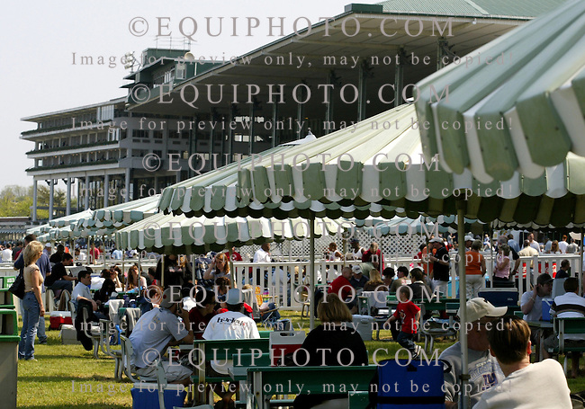 The popular picnic area at Monmouth Park in Oceanport, New Jersey.