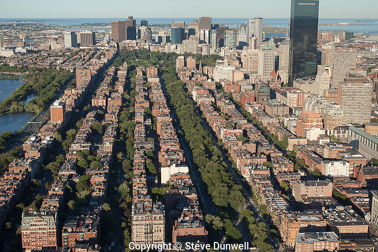 Commonwealth Avenue, aerial view,  Back Bay, Boston, MA, city, planning,