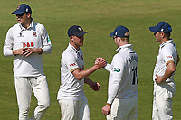 Simon Harmer of Essex congratulates Jamie Porter (2nd L) on his five wickets during Lancashire CCC vs Essex CCC, Specsavers County Championship Division 1 Cricket at Emirates Old Trafford on 11th June 2018