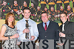 AWARDS: Award winners at the Dr Crokes GAA Club Social in The Dromhall Hotel, Killarney, last Sunday night. L-r: Elaine Kavanagh (Ladies Player of the Year), Ambrose ODonovan (Senior Player of the Year), Patrick OSullivan (Chairman) and Gavin Tucker (Young Player of the Year)...