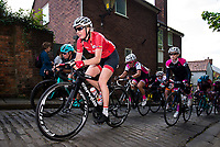 Picture by Alex Whitehead/SWpix.com - 14/05/2017 - Cycling - 2017 HSBC UK | National Women's Road Series - Lincoln Grand Prix - Team Breeze's Melissa Lowther climbs the Michaelgate cobbles.