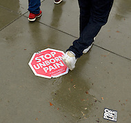 January 23, 2012  (Washington, DC)  A pro-life sign on the ground in front of the U.S. Supreme Court during the March For Life.   (Photo by Don Baxter/Media Images International)