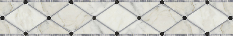 """6 1/4"""" Quilt border, a hand-cut stone mosaic, shown in polished Calacatta Tia, Nero Marquina, and Bardiglio from New Ravenna."""